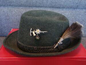Vtg Lembert Green wool German Fedora hat hunting walking hiking Oktoberfest pins
