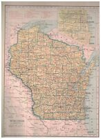 1942 Railroad Map of Wisconsin With A Railroad Map of Wyoming On The Reverse