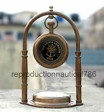 Handmade Desktop Working Clock Nautical Brass Stand Decor Watch With Compass