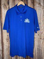 "Oakley Blue Short Sleeve Golf Polo Shirt ""Barb Wire Boarding Co."" Men's Size XL"