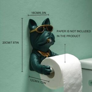 Resin Sunglasses Dog Figurin Roll Toilet Tissue Holder Wall Mounted Tissue
