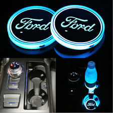 2PCS For Ford LED Car Cup Holder gloss Pad USB Auto Interior Atmosphere Lights