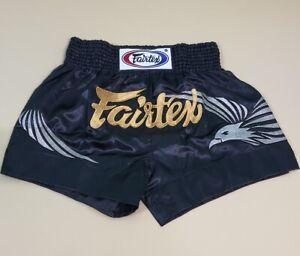 SHORTS FAIRTEX MUAY THAI KIDS JUNIOR BOXING MMA EAGLE BLACK GENUINE XS SATIN