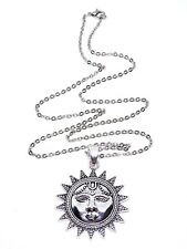 Sun Face Pendant Silver Tone Ethnic Long Chain Statement Necklace