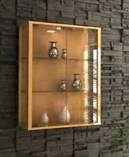 Beech Glass Display Cabinet Wall Mounted Toys Vapes Optional LED Light