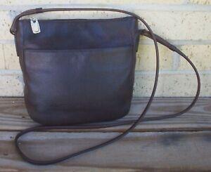 Fossil 1954 Brown Leather Crossbody Handbag~Outer Pocket