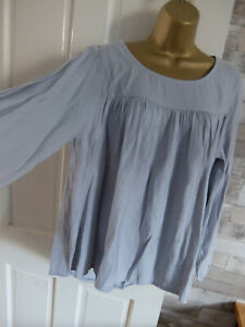 MADE IN ITALY ● size 12 14 ● silver grey shiny lagenlook blouse top womens