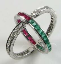 9K 9CT WHITE GOLD  RUBY EMERALD DIAMOND NIGHT & DAY FLIP OVER RING Size Q 1/2
