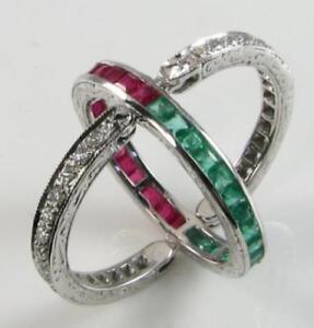 9K 9CT WHITE GOLD  RUBY EMERALD DIAMOND NIGHT & DAY FLIP OVER RING Size I 1/2 UK