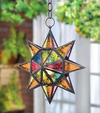 """Hanging Star Candle Lantern Colorful Multi-Faceted Moroccan Style 13"""" High"""