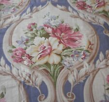 Antique Vtg. Shabby Romantic Floral Bouquet Cartouche Fabric~ Lavender Blue Rose