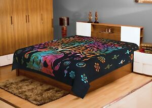 Traditional Mandala Queen Cotton Elephant Printed Bedspread Cover