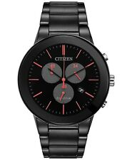 Citizen Eco-Drive Axiom Chronograph Black Ion Stainless Mens Watch AT2245-57F