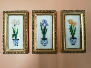 Set Of 3 Spring Flowers 3D Framed Pictures Tulip/Iris/Daffodil