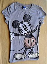 New Disney Gray Short Sleeves Top T-Sirt  Mini Mouse Print Cotton Girls Size L