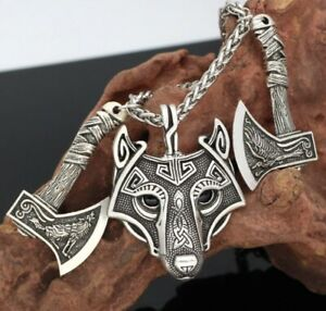 AXE AX VIKING Wolf Head Pendant Chain Vintage Necklace Norse Men Silver Gift Boy