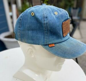Vintage 70s LEVI  Denim STRAPBACK Levis ORANGE TAB Leather Patch TRUCKER Hat