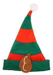 CHILDRENS ELF RED GREEN HAT WITH EARS CHRISTMAS FANCY DRESS XMAS SANTA HELPER UK