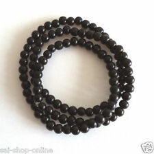 Black stone Beads Stretchable Mala Bracelet Wrist Band Men's Fashion smaller