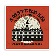 2 x Amsterdam Netherlands Vinyl Stickers - Car Van Tool Box Luggage Gift #10929