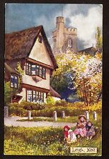 Tuck Picturesque Counties art signed Jotter children play Leigh Kent Uk postcard