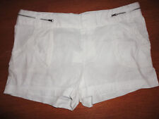 * Womens Calvin Klein CK Shorts Size Sz 14 White Linen Cotton 4 Pockets Side Zip
