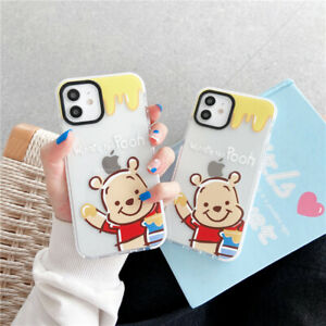 For IPhone 12 11 Pro Max XS XR 7 8+ Cute Cartoon Winnie the pooh soft Case Cover