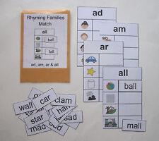 Teacher Made Literacy Center Resource Game Rhyming Families ad, am, ar & all