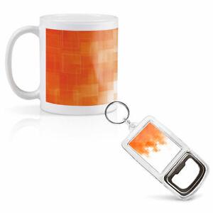 Mug & Bottle Opener-Keyring-set - Orange Abstract Pixels   #2556