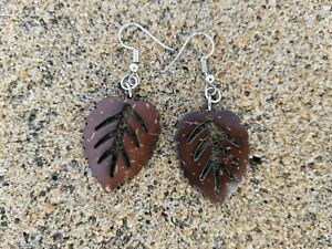 Earrings made out of Coconut Shells