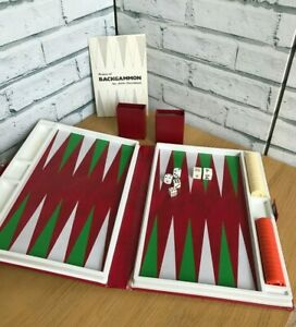Jacques Travel Backgammon Set in Red Folding Case Complete