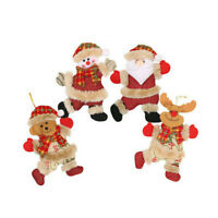 4pcs Christmas Ornaments Santa Claus Plush Snowman Xmas Tree Hanging Party Decor