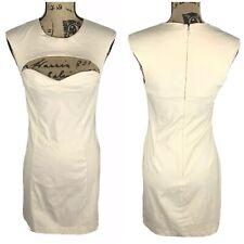 ASOS Cutout Sheath Bodycon Dress Sleeveless Cream Size 8 Sweetheart Back Zip