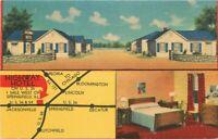 Highway Hotel interior entrance Springfield Illinois Postcard MWM linen 13104