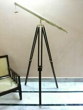SILVER BRASS TELESCOPE WITH WOOD TRIPOD STAND VINTAGE NAUTICAL DECORATIVE GIFT