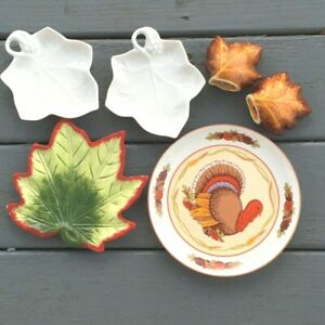 Fall harvest lot 6 piece thanksgiving turkey leaf dish plate salt pepper shakers
