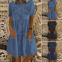 ZANZEA Womens Summer Short Sleeve Denim Sundress Casual Solid Basic Tiered Dress