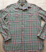 Ralph Lauren Rugby Campus Classics Men's Sz L Button Up Shirt Green Pink Plaid