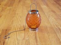 Amber Glass Hanging Fairy Lamp Candle Holder Chrome Chain