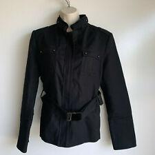 Zara Basic Black Military Inspired Lined Utility Jacket with Belt Size XL ~ EUC