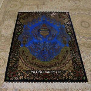 YILONG 3'x4.5' Bright Blue Handknotted Silk Area Rug Oriental Carpet TJ103A