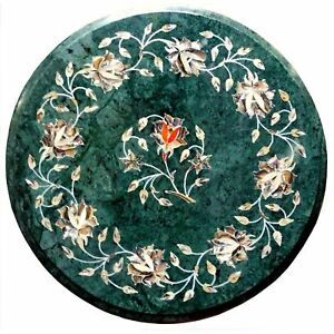 "12"" green Marble Table top Semi precious stones inlay Handicraft Work home decor"