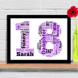 1st 16th 18th 21st 30th 40th 50th 60th birthday gift idea Personalised word art