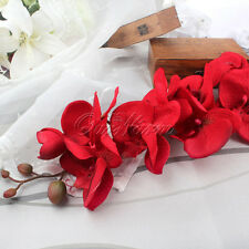 Red Silk Flower Artificial Moth Orchid Butterfly Orchid Home Decor Wedding Hot