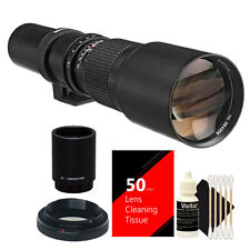 Bower 500mm / 1000mm f/8 Telephoto Lens for Canon EOS 50D 40D 30D + 2X Converter