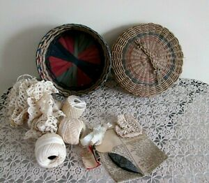 Antique Sweet Grass Sewing Basket full of Crocheting