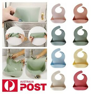 NEW Silicone Baby Bib Soft Waterproof BPA-Free Adjustable Roll Up Pocket Food