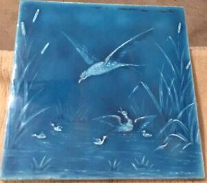 "Minton Hollins & Co Tile Works Blue Art  8"" Tile 1880s ""Ducks & Bird"" NICE! #5"