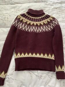 Jack Wills Knitwear Jumper Size 8 Fair Isle Lambswool Burgundy