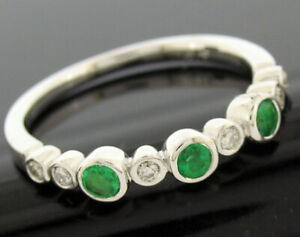 R159 Genuine 9K 9ct Solid Gold Natural Emerald & Diamond Eternity Ring Trilogy